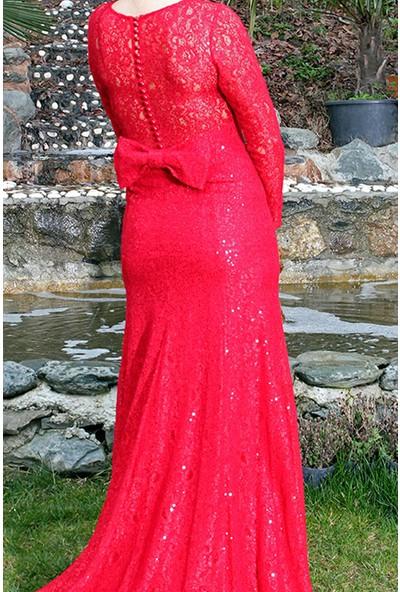 Devri Sultan Arkası Fiyonklu Uzun Dantel Kırmızı Elbise