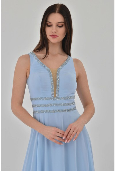 Devri Sultan Bel Ve Göğüs Çevresi Yapıştırma Taşlı Şifon Abiye Mavi Düz Elbise