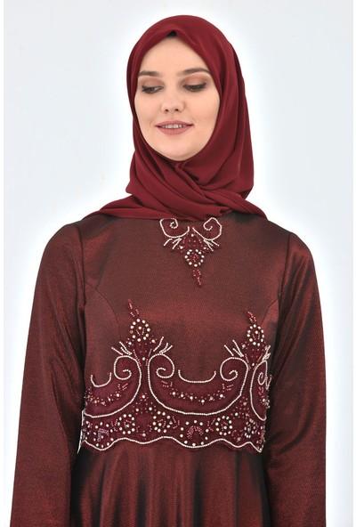 Devri Sultan Bel Ve Yakası Brode Taş Işlemeli Tesettür Abiye Bordo Elbise