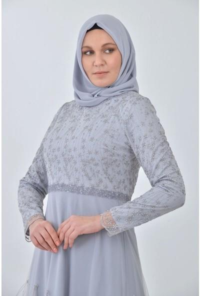 Devri Sultan Beli Taşlı Eteği Serpme Tüylü Büyük Beden Tesettür Abiye Gri Elbise