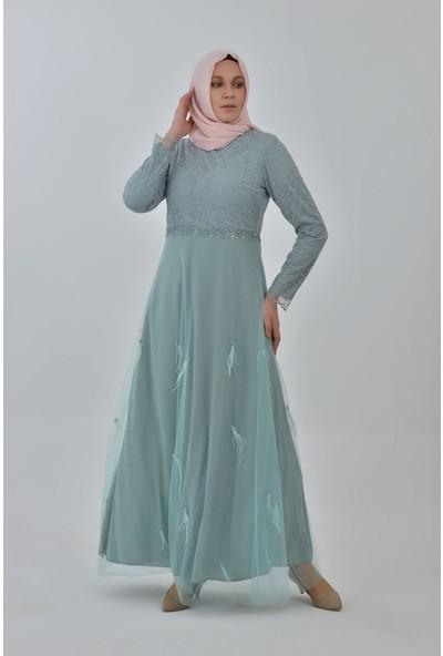 Devri Sultan Beli Taşlı Eteği Serpme Tüylü Büyük Beden Tesettür Abiye Mint Elbise
