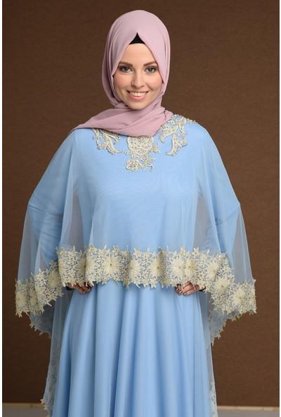 Devri Sultan Boncuk Işlemeli Çıkarılabilir Pelerinli Büyük Beden Tesettür Abiye Mavi Elbise