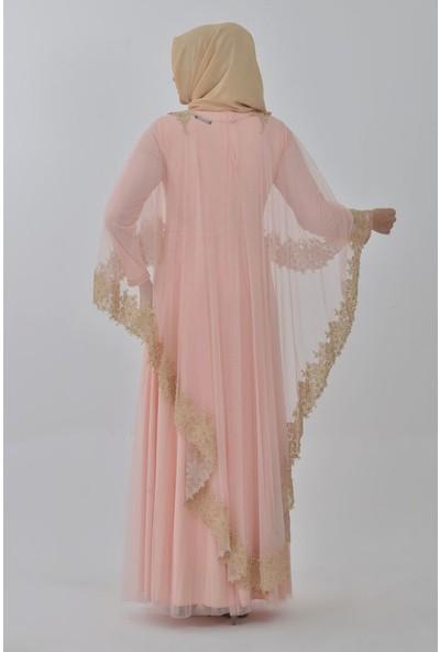 Devri Sultan Boncuk Işlemeli Çıkarılabilir Pelerinli Büyük Beden Tesettür Abiye Somon Elbise