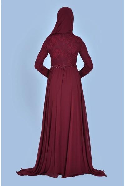 Devri Sultan Brode Dantelli Tesettür Abiye Bordo Elbise