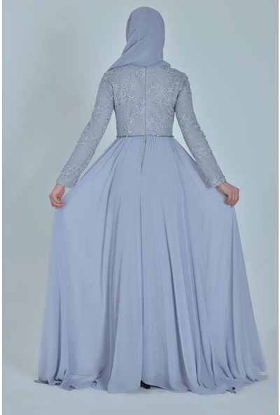 Devri Sultan Brode Dantelli Tesettür Abiye Gri Elbise