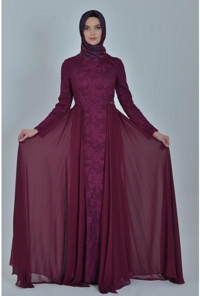 Devri Sultan Brode Dantelli Tesettür Abiye Mürdüm Elbise