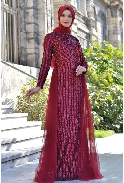 Devri Sultan Çizgi Payet Tesettür Abiye Bordo Elbise