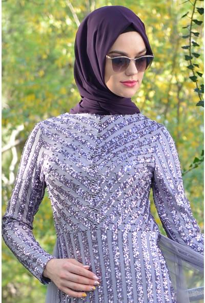 Devri Sultan Çizgi Payet Tesettür Abiye Lila Elbise