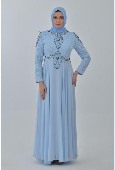 Devri Sultan El Işlemeli Dantelli Taşlı Büyük Beden Tesettür Abiye Mavi Elbise