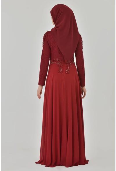 Devri Sultan El Işlemeli Taşlı Tesettür Abiye Bordo Elbise