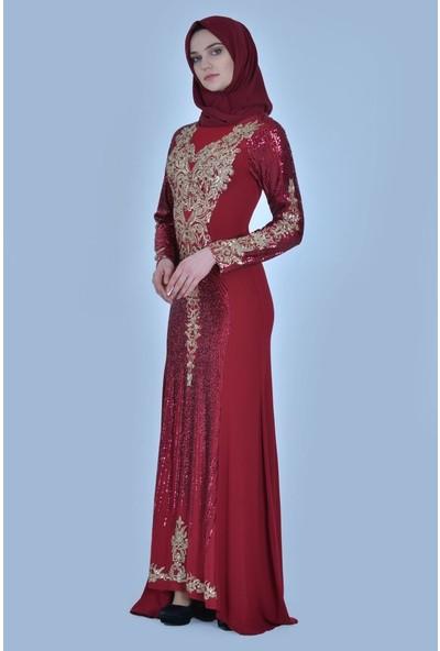 Devri Sultan Güneş Payet Desenli Krep Tesettür Abiye Bordo Elbise