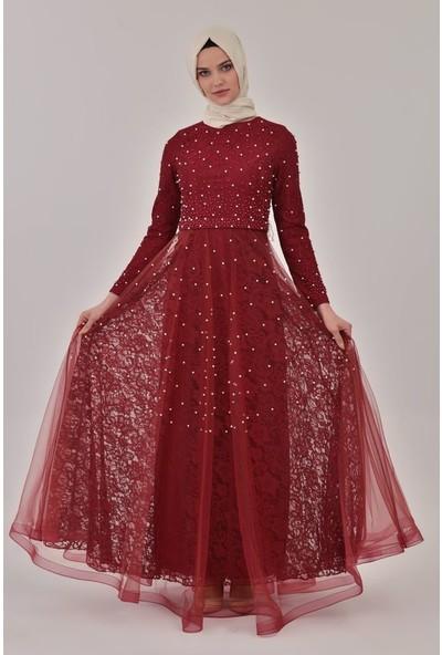 Devri Sultan Incili Abiye Bordo Elbise