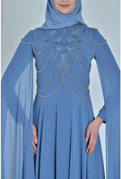 Devri Sultan Incili Tesettür Abiye Petrol Elbise