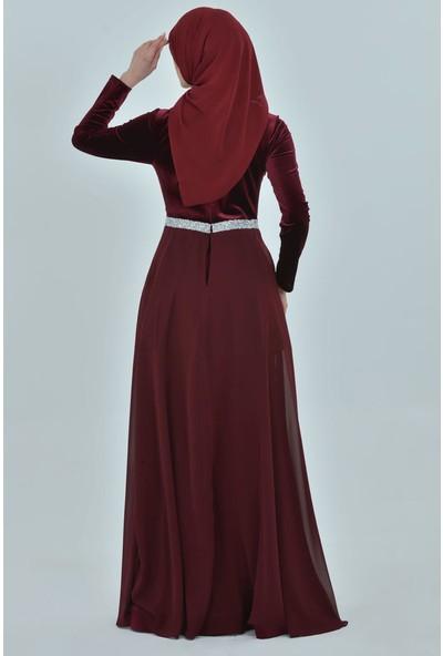 Devri Sultan Kadife Tesettür Abiye Bordo Elbise