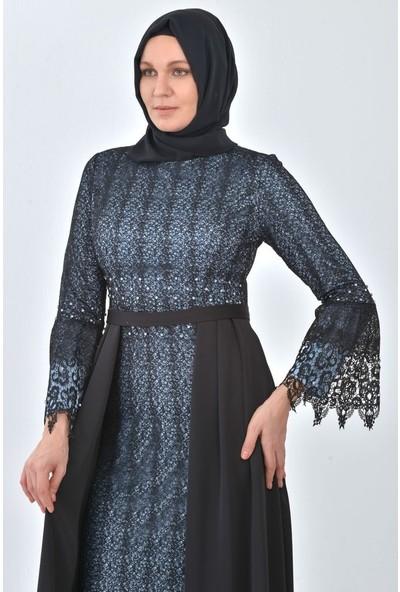 Devri Sultan Kolu Volanlı Büyük Beden Tesettür Abiye Siyaha Mavi Elbise