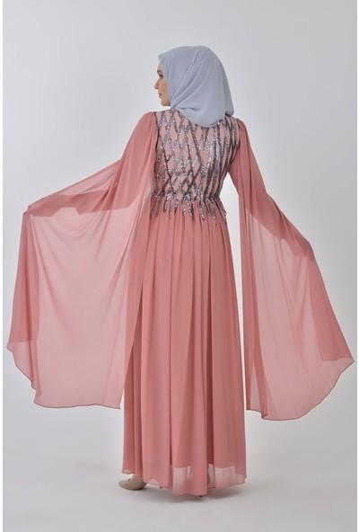 Devri Sultan Payetli Büyük Beden Tesettür Abiye Tarçın Elbise