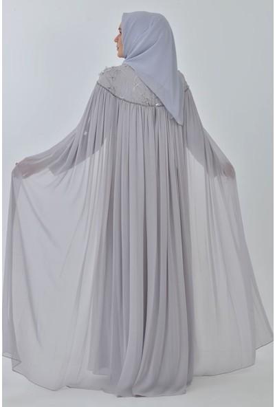 Devri Sultan Payetli Şifon Detaylı Büyük Beden Tesettür Abiye Gri Elbise