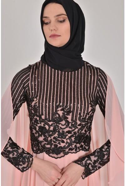 Devri Sultan Payetli Şifon Tesettür Abiye Somon Elbise