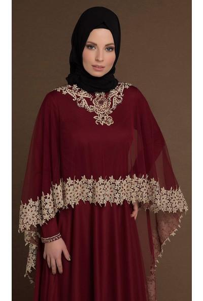 Devri Sultan Pelerinli Dantelli Tesettür Abiye Bordo Elbise