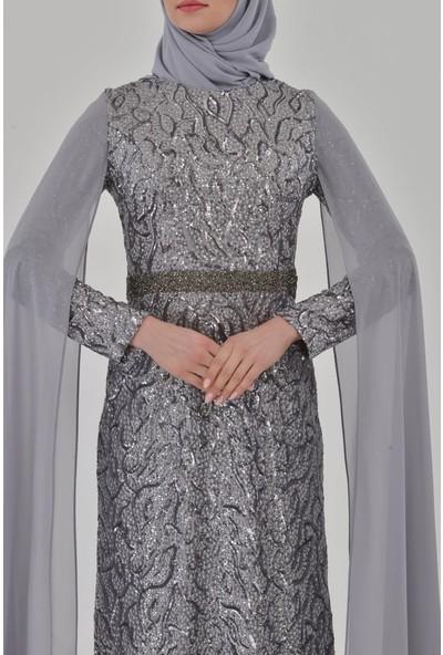 Devri Sultan Pul Payet Tesettür Abiye Gri Elbise
