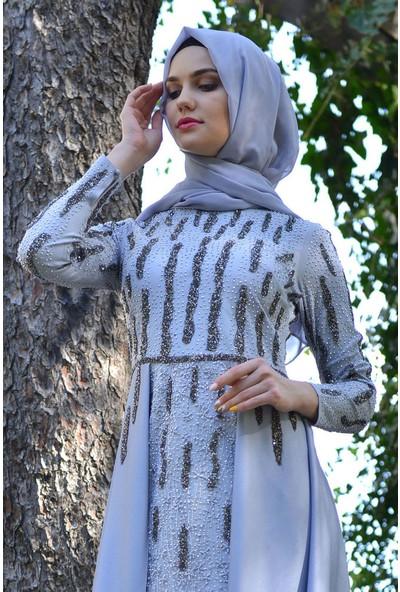 Devri Sultan Taş Detaylı Tesettür Abiye Gri Elbise