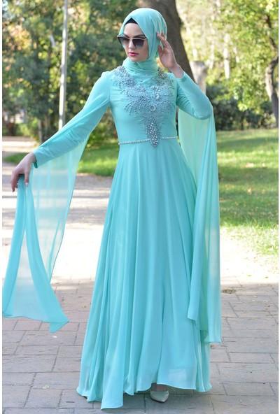 Devri Sultan Taş Işlemeli Tesettür Abiye Mint Elbise