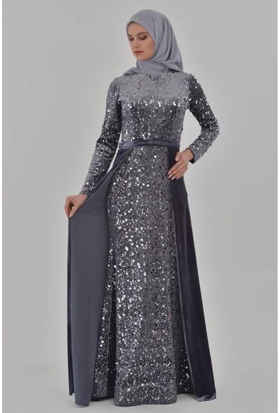 Devri Sultan Tesettür Abiye Antrasit Elbise