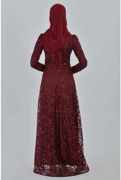 Devri Sultan Tesettür Abiye Bordo Elbise
