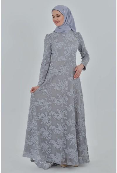 Devri Sultan Tesettür Abiye Gri Elbise