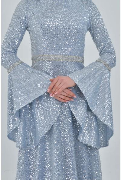 Devri Sultan Tesettür Abiye Gümüş Elbise