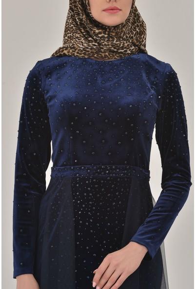 Devri Sultan Tesettür Abiye Kadife Lacivert Elbise