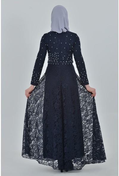 Devri Sultan Tesettür Abiye Lacivert Elbise