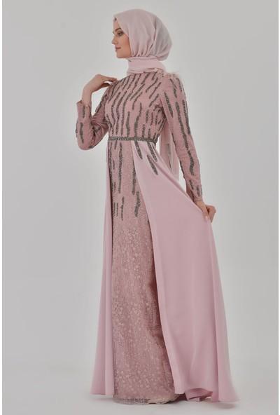 Devri Sultan Tesettür Abiye Pudra Elbise