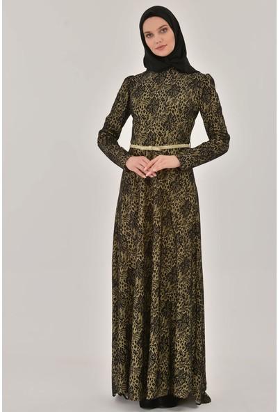 Devri Sultan Tesettür Abiye Siyah Gold Elbise
