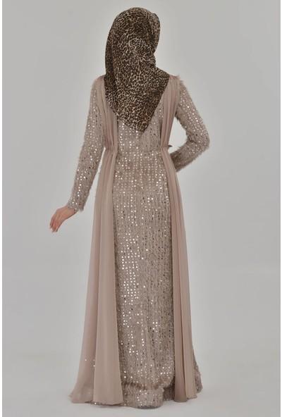 Devri Sultan Tesettür Abiye Vizon Elbise