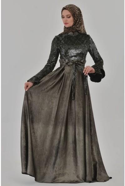Devri Sultan Tesettür Abiye Yeşil Elbise