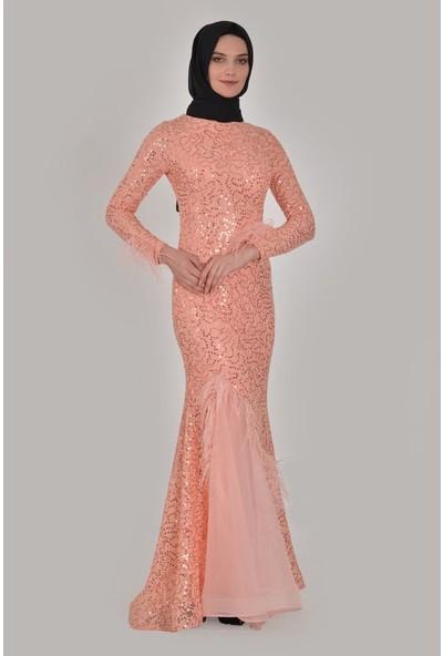 Devri Sultan Tüy Detaylı Pul Payet Tesettür Abiye Somon Elbise