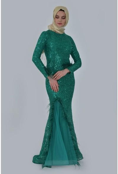 Devri Sultan Tüy Detaylı Pul Payet Tesettür Abiye Yeşil Elbise