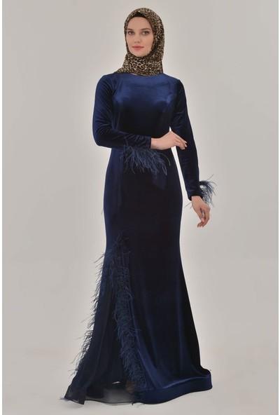 Devri Sultan Tüylü Kadife Tesettür Abiye Lacivert Elbise