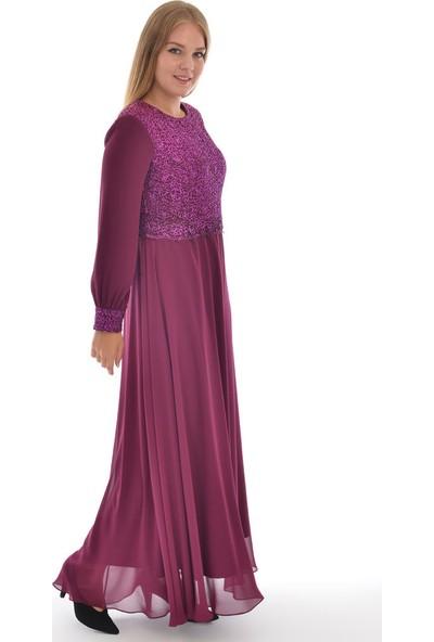Devri Sultan Üst Bedeni Ve Manşeti Gül Desenli Tesettür Abiye Mürdüm Elbise