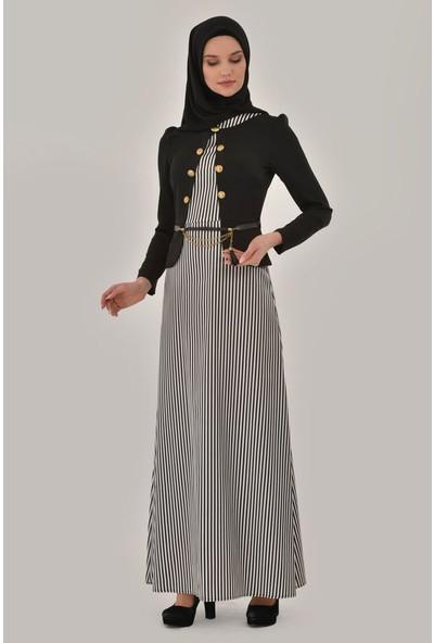 Devri Sultan Üstü Ceket Görünümlü Siyah Elbise