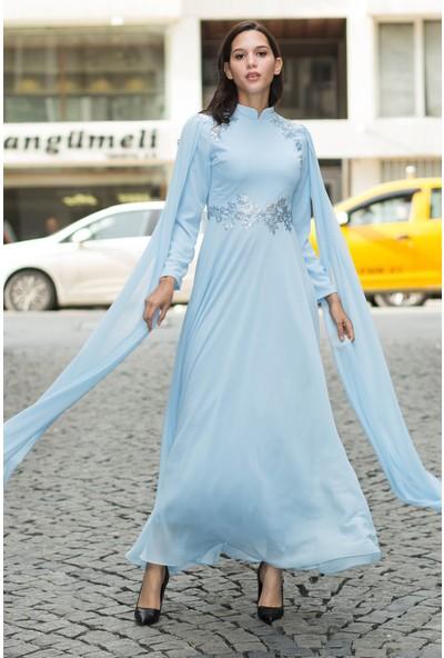 Devri Sultan Varak Motifli Büyük Beden Tesettür Abiye Mavi Elbise