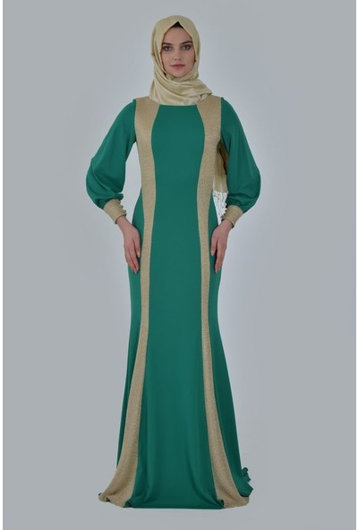 Devri Sultan Yan Kulpları Ve Kol Manşetleri Zırhlı Tesettür Abiye Yeşil Elbise
