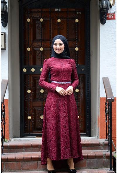 Devri Sultan Zümra Dantelli Tesettür Bordo Elbise