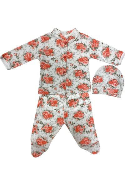 Akyüz Bebe AY549 Güllü Çiçekli Emprime Şapkalı Zıbın Kırmızı