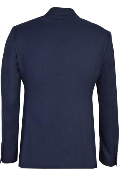 Kiğılı Slim Fit Kruvaze Çizgili Yünlü Takım Elbise