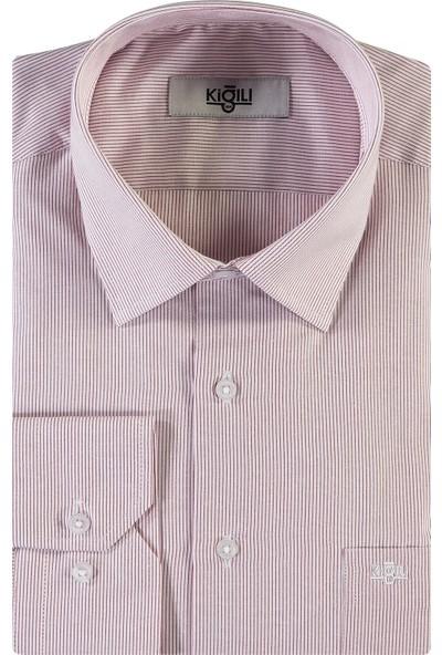Kiğılı Uzun Kol Klasik Çizgili Gömlek