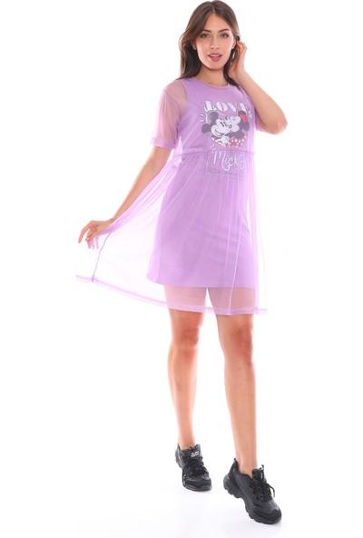 PodiumStar Mickey Mouse Detaylı Tüllü Elbise