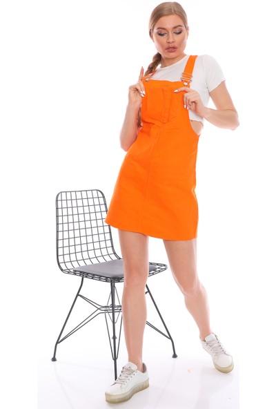 PodiumStar Kısa Salopet Elbise Jean Elbise Kot Elbise