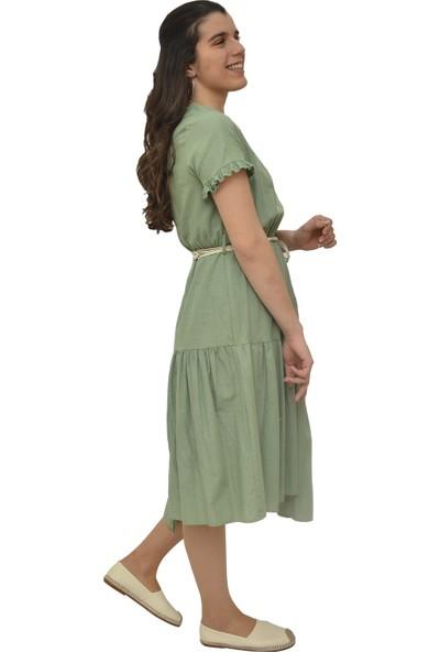 Anitabella İp Kemerli Yeşil Elbise